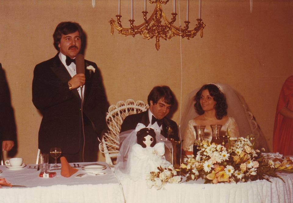 My brother giving the Best Man speech at my wedding, March 18, 1979