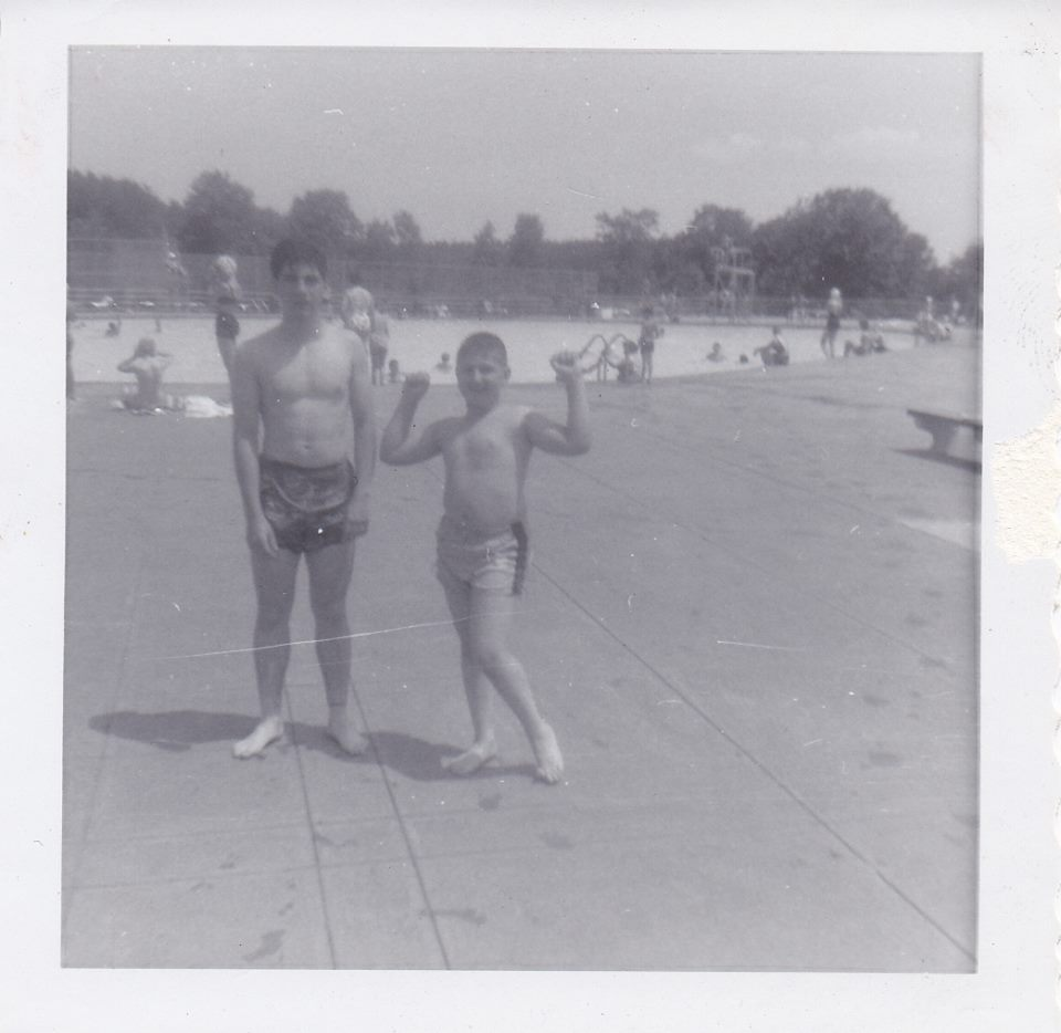 Me and my brother at the park pool, circa 1963