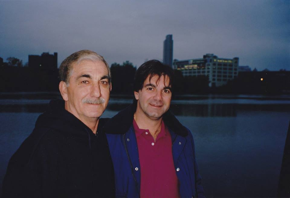 My father and me at the start of our boat trip, October 1993. Four months after our mother had died.