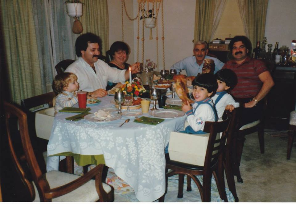Thanksgiving with my parents, my brother and my three sons, 1986